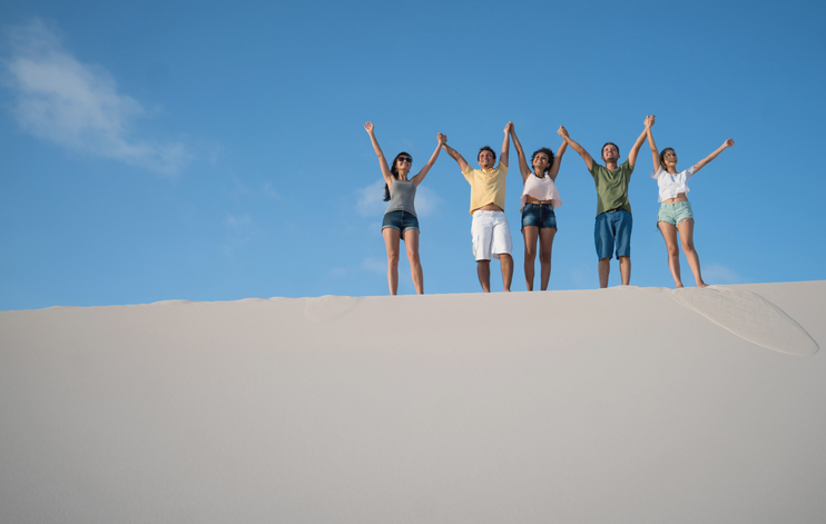 Group of Brazilian friends having fun at the desert