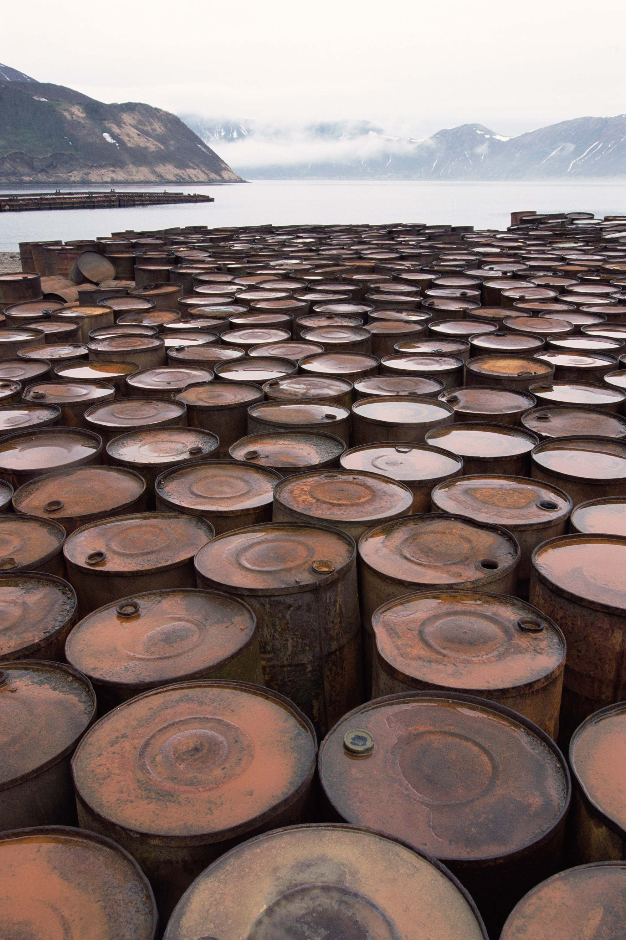 Discarded oil barrels