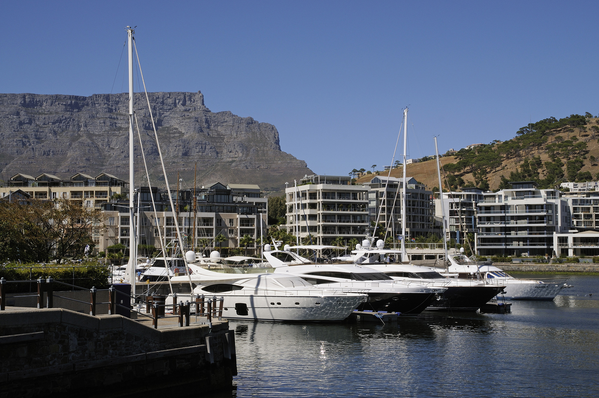 Yachts moored at the V&A Waterfront