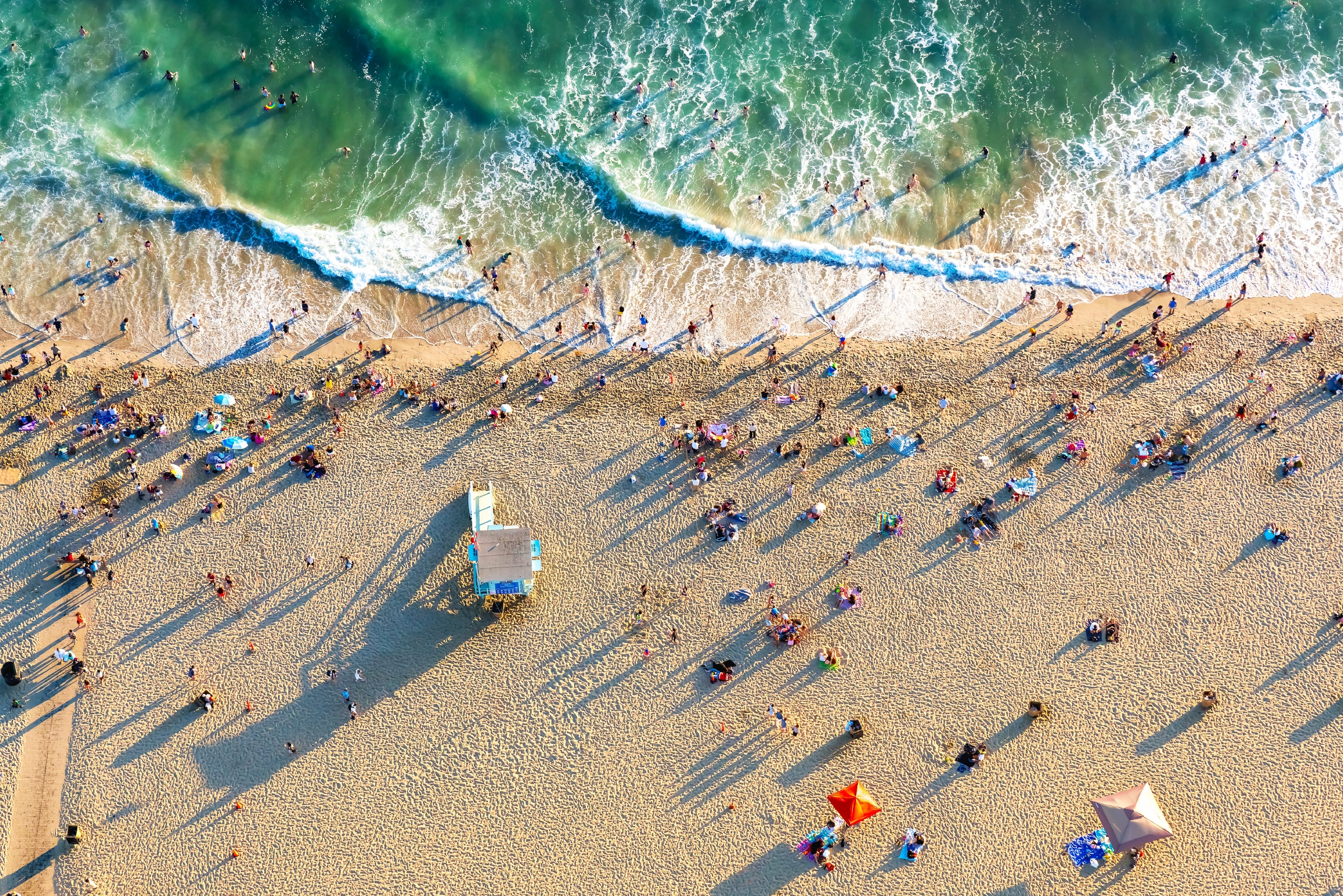Aerial view of the beach in Santa Monica, CA.
