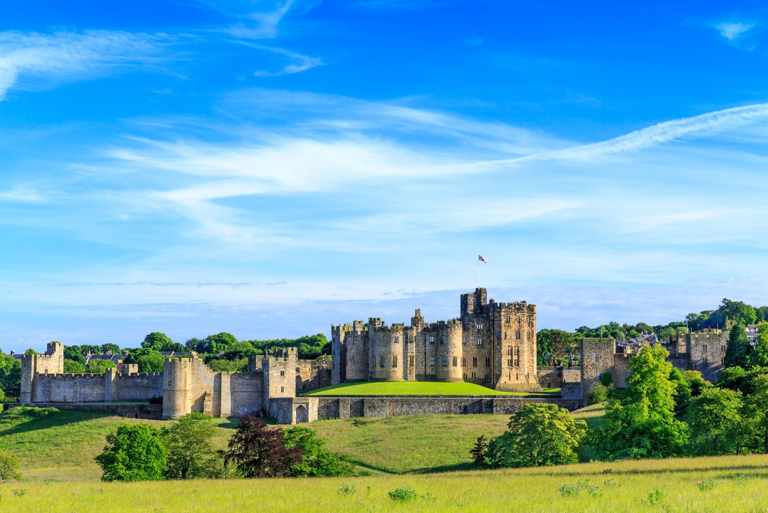 An exterior shot of Alnwick Castle in Northumberland