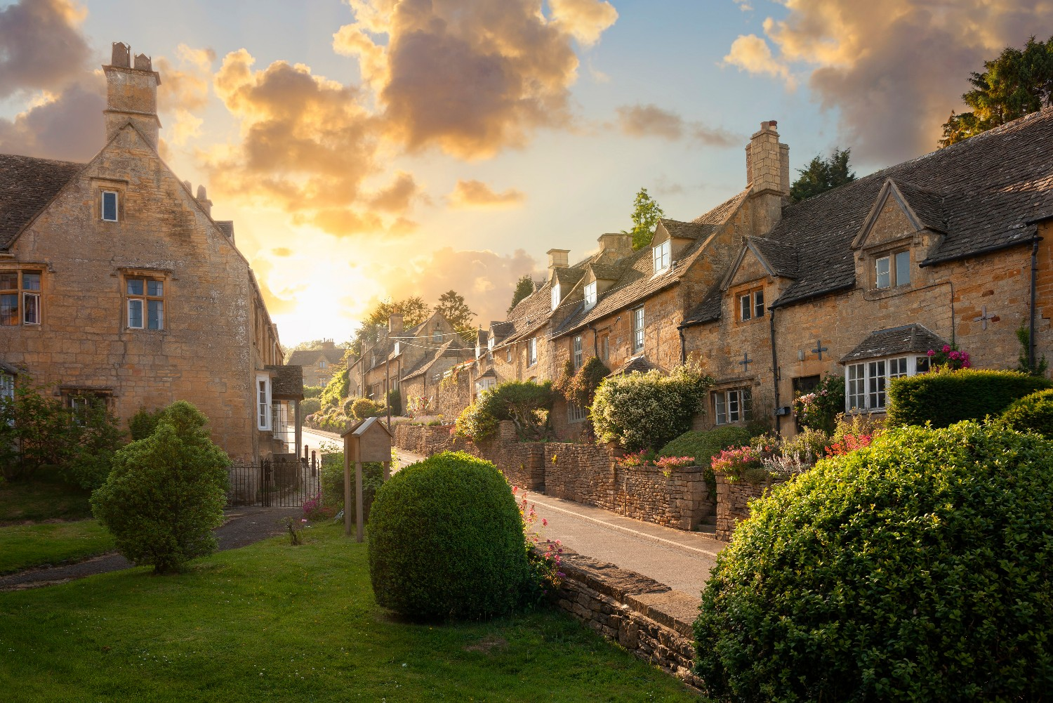 A row of houses in the Cotswolds, England